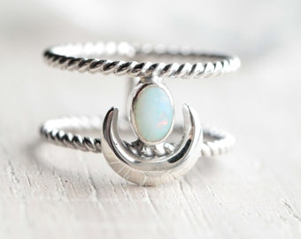 White Opal Crescent Moon Ring, Solid 925 Sterling Silver Statement Ring, Silver Boho Ring, Crescent Moon Ring, Gypsy Ring, Gemstone Ring