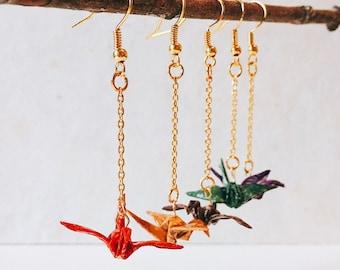 Origami, 5 colors, Origami crane dangle skull earrings, 5 colors