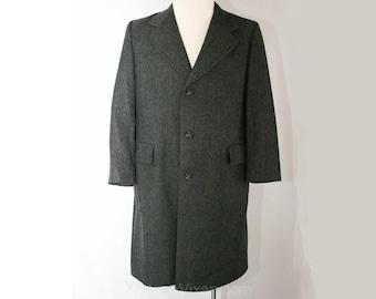 Men's Small Handsome Gray Herringbone Wool Over Coat - Mens 60s Winter Overcoat - Classic 1960s Outerwear - Sm to Medium - Chest 40 - 38274