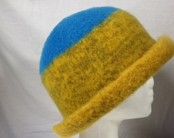 Hat Wool Felted Leaves and Sky with Rolled Brim