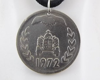 Algerian Coin Necklace, 1 Dinar, Mens Necklace, Womens Necklace, Coin Pendant, Leather Cord, Birth Year, 1972