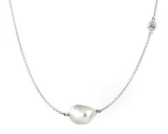18k gold South Sea baroque pearl and diamond necklace
