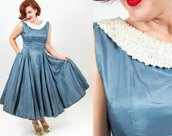 1950s Steal Gray/Blue Taffeta Dress with 360 Skirt - Small