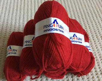 Pingostar by Pingouin in Red - Wool Acrylic Blend - Made in France