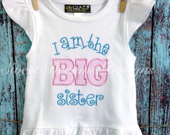 I Am The Big Sister appliquéd tee for girls sizes 12m-8y