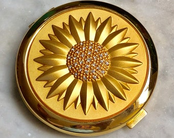 Gold Sunflower and Rhinestone Double Mirror Compact