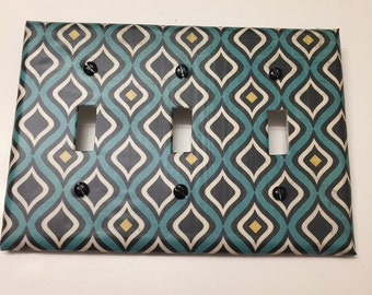 Diamond,DarkTurquoise,Yellow,Black,bedroom, bathroom, light plate cover,light switch plate, outlet cover, outlet plate, home decor, wall art