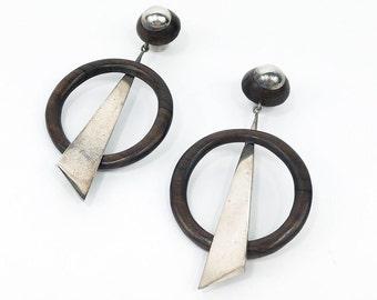 80s Sterling & Wood Earrings | Wood Circle Pierced Earrings