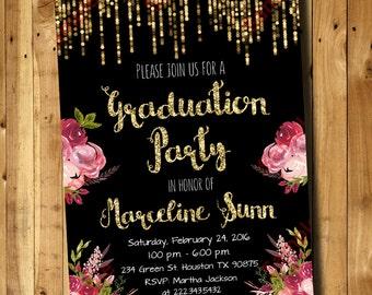 Floral Graduation Invitation - Floral Black Invitation -  Graduation Invitation Digital File