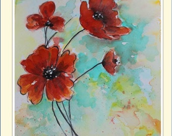 Poppies - Original Watercolor Painting