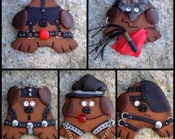 Funny fridge magnets dog BDSM refrigerator hand made polymer clay kitchen decore cool weird funny gag gift gifts geekery dog BDSM