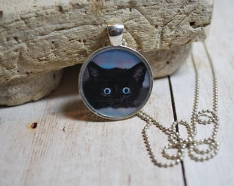 Black cat necklace - cat jewelry - cat pendant - kitten necklace - black cat jewelry - gift - jewelry gift - black kitten charm