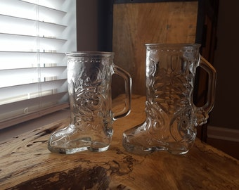 Set of 2 Vintage Cowboy Boot Glasses