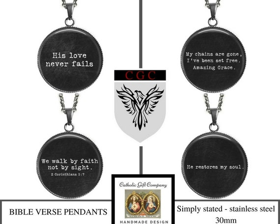 Bible Verse Necklace for Men - Large Catholic Pendant Stainless Steel - 30mm - Great Gift /  4 choices, Recovery Gift