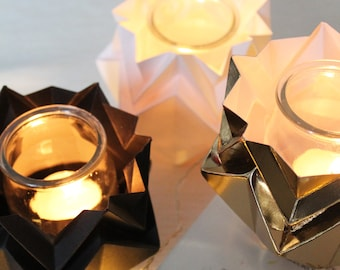 Christmas' decoration | Pack multicolor 3 tealights | handmade origami candle holders perfect for your home | available in different colors