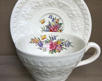 Tintern Wedgwood Wellesley Teacup Saucer Butterfly & Flowers Vintage Tea Cup Set AL9460 - #A1402