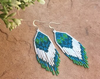 Mountain Reflections Beaded Earrings