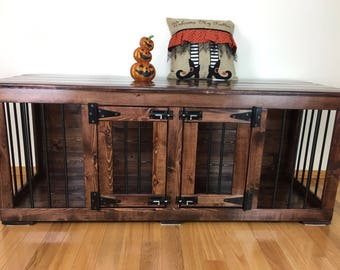 dog crates as furniture. Pretties (#1 On Etsy) - Double Dog Kennel/Custom Kennel/Handmade Crates As Furniture E