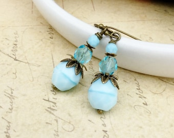 Light Blue Earrings, Blue Earrings, Aqua Earrings, Victorian Earrings, Czech Glass Beads, Vintage Look Earrings, Unique Earrings, Gifts