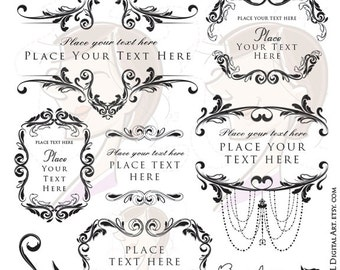 Wedding Vector Clipart - Floral Png Design perfect for that Classic Look, features Vintage Chandelier Digital Frame - Commercial Use 10020