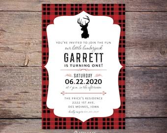 Buffalo Lumberjack first birthday invitations, flannel up birthday party invite, deer, plaid birthday, lumberjack birthday