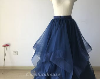 Wide Double Horse Hair Trims Soft Navy Blue Tulle Maxi Tulle Skirt / Wedding Underskirt/Bridesmaid/Engagement Skirt/Valentine's /Prom skirt