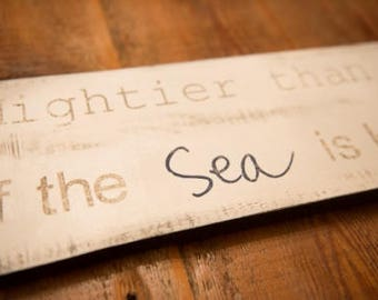 Mightier than the Waves is HIS Love for You  Psalm 93:4  Bible Verse Sign  Distressed Sign