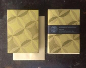 6 Robbing Peter Letterpress Notecard - Lemon and Olive on Sage