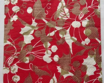 10 sheets of Holly Christmas paper napkins red white and gold REF.   3655