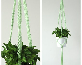 Macrame Plant Hanger // Mint Hanging Planter // Green Hanging Plant Holder // Mint // READY TO SHIP