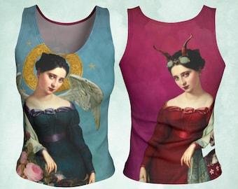 Tank Top, Angel Devil, Angel Top, Devil girl, Funny Tank, Art to Wear, Art Clothing, Symbolist art, Choose your Side, yoga tank, gift woman