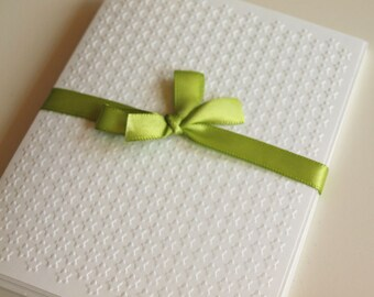 Mini Stars White Embossed Greeting Cards - Note Card Set of 5 - A2 Size - Everyday - Thank You