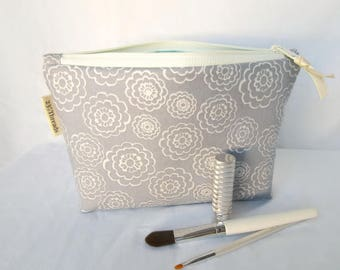Cosmetic bag makeup bag, medium, white clouds on gray with aqua (CP17-008)