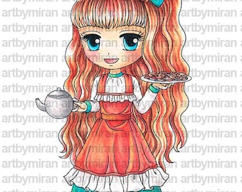 Digital Stamp-Any One For Tea(#113), Digi Stamp, Coloring page, Printable Line art for Card and Craft Supply