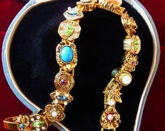 Vintage Edith Vanderbilt Victorian slide bracelet | Victorian Revival | watch fobs charms | original package | signed numbered collectible
