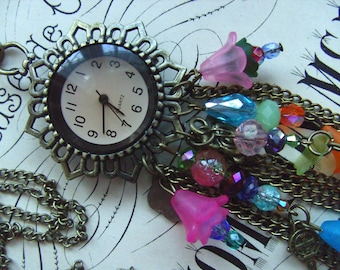 Feature necklace, pocket watch, necklace, mix colour,Bohemian, hippie,  by NewellsJewels on etsy