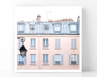 Paris Photography - Pink Building with Lamp Post, 5x5 Paris Fine Art Photograph, French Home Decor, Wall Art, Paris Gallery Wall