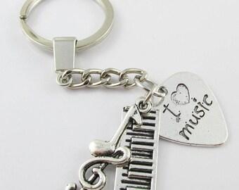 Music Lovers Musicians I Love Music Charm Keychain Keyring 106mm