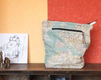 large zipper pouch / world map toiletry bag / men women / travel zipper bag / camera pouch
