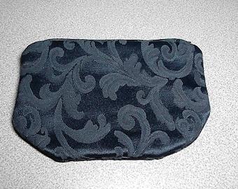 Zipper Pouch Small Clutch Pouch in Navy Blue Dark Blue Flower Motif Shiny