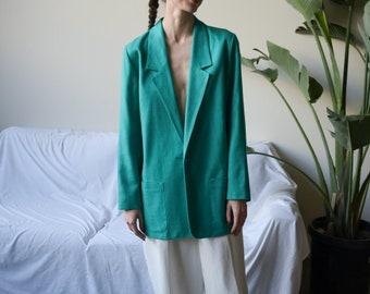 turquoise oversized woven blazer / oversized boyfriend blazer / 1980s minimalist long jacket / xs / s / 2467o / B19