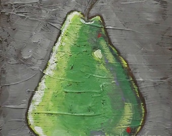 Pear Painting, Original Art, Acrylic Paint, Fruit, Home Decor,