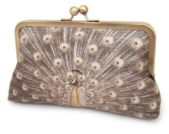 Clutch bag, silk purse, peacock wedding, gold, ochre, bridesmaid gift, BURNISHED GOLD PEACOCK