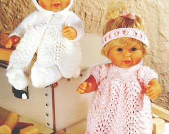 """Instant PDF Download Knitting pattern/Handsome Doll Outfit/14""""(36cm) doll clothes/Coat,Dress,Bonnet,Leggings,Bootees,Headband/Pattern–A351"""