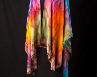 Silk Ruana Hand Dyed Extra Large Hand Painted Cape