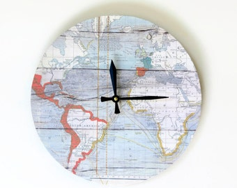 Nautical Map Wall Clock, Zero Waste Beach House Decor and Wall Art
