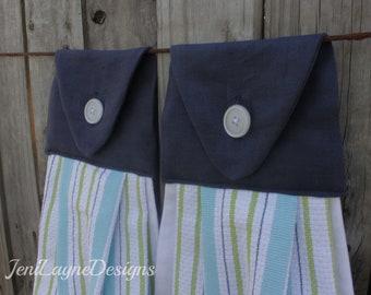 Hanging Kitchen Towels- Set of 2    Hanging Towels, Kitchen Towels, Kitchen Linens, housewarming gift, gift under 20, Navy Blue