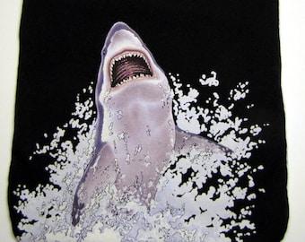 Shark Attack Upcycled Baby or Toddler Bib, Large, Reversible, Black, Teeth, Jaws, Ocean, Sesame Street, Alphabet, OOAK