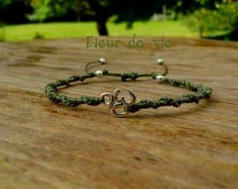 KHAKI symbol AUM macrame bracelet