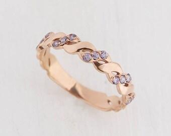 Twist wedding ring, Amethyst ring, Amethyst band, Women ring gold, Eternity ring, Eternity band, Wedding band gold, Wedding ring gold